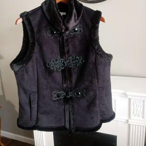 Coldwater Creek Faux Suede/Fur Black Vest SZ Large